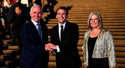 President of France Emmanuel Macron meets Australia's Prime Minister Malcolm Turnbull and his wife Lucy Turnbull at the Sydney Opera House AAP/Mick Tsikas/via REUTERS
