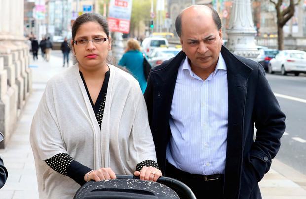 Amandeep Kaur and Tajinder Gill, parents of Jasbeen Gill (11), of Seafield Court, Rush, Co. Dublin pictured leaving the Four Courts after the High Court approved an award for Jasbeen Gill. Pic: Collins Courts
