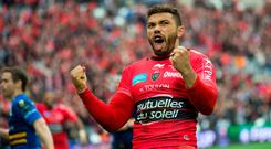 Toulon's winger Bryan Habana celebrates after scoring a try during the European Champions Cup rugby union semi final match between Toulon and Leinster on April 19, 2015 at the Velodrome stadium in Marseille, souheastern France. AFP PHOTO / BERTRAND LANGLOIS (Photo credit should read BERTRAND LANGLOIS/AFP/Getty Images)