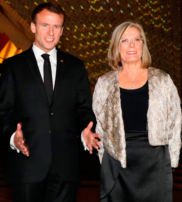 Emmanuel Macron with Lucy Turnbull in Sydney. Photo: AFP/Getty
