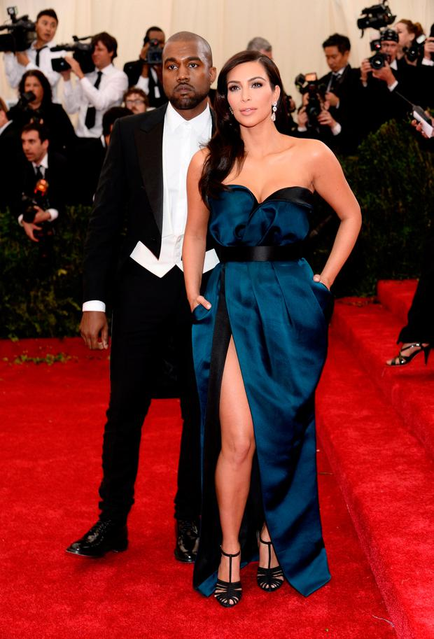 Rapper Kanye West pictured with his wife Kim Kardashian West. Photo: Dimitrios Kambouris/Getty Images