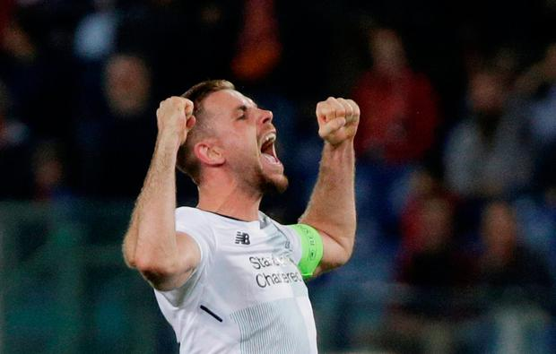 Soccer Football - Champions League Semi Final Second Leg - AS Roma v Liverpool - Stadio Olimpico, Rome, Italy - May 2, 2018 Liverpool's Jordan Henderson celebrates after the match REUTERS/Max Rossi
