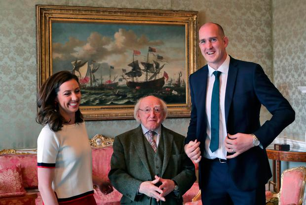 Devin Toner and his wife Mary meet President Michael D Higgins at Áras an Uachtaráin for a Grand Slam reception. Picture: Colin Keegan