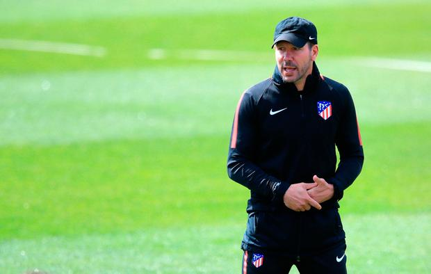 Atletico Madrid manager Diego Simeone during the training session at the Ciudad Deportiva Atlético de Madrid, Madrid. Photo: Adam Davy/PA Wire