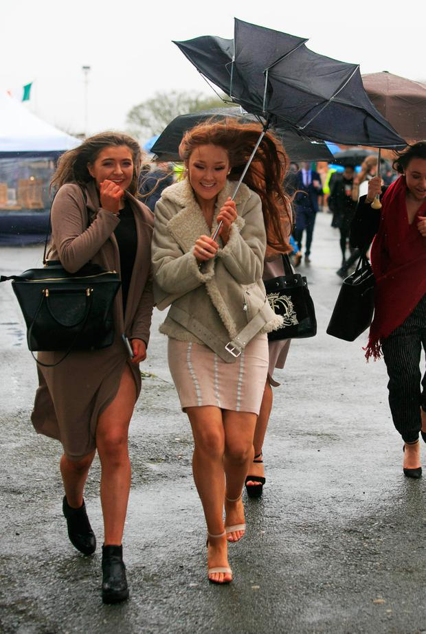 Aoife Colohan and Eva Troy, from Dunboyne, struggled with conditions at the Fairyhouse races at the start of April