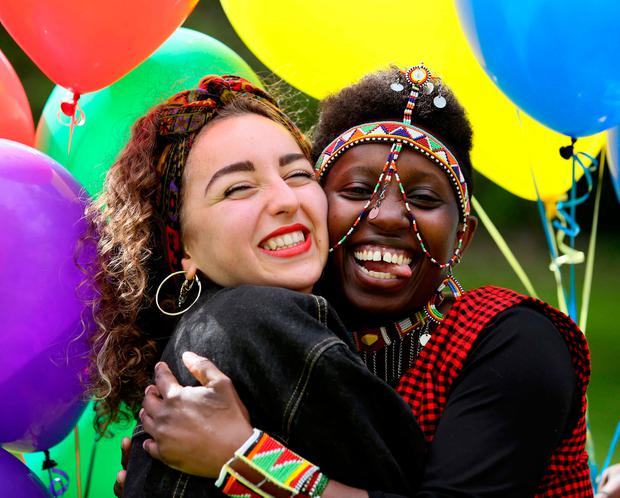Farah Elle (right) from Libya, with Annie Waithira, from Kenya, at the launch of Africa Day 2018 yesterday. Photo: Mark Stedman