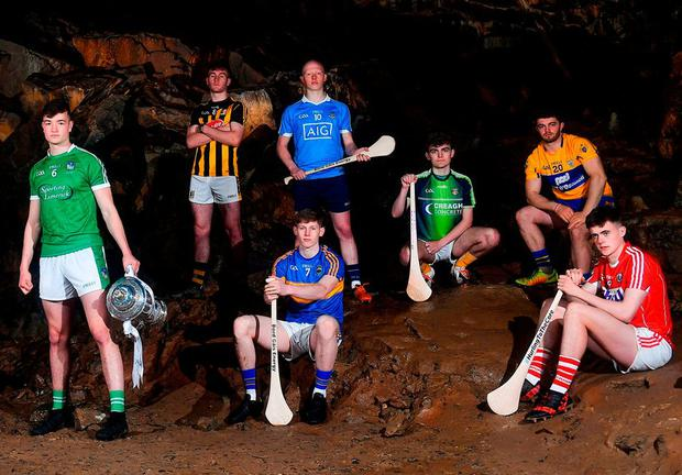 ALL SET: Limerick's Kyle Hayes, Kilkenny's Richie Leahy, Dublin's Fergal Whitely, Tipperary's Paudie Feehan, Antrim's Ryan Elliot, Clare's Jason McCarthy and Cork's Darragh Fitzgibbon at yesterday's Bord Gáis Energy All-Ireland U21HC launch in Mitchelstown Caves, Cork. Follow action at #HurlingToTheCore. Photo: Eóin Noonan/Sportsfile
