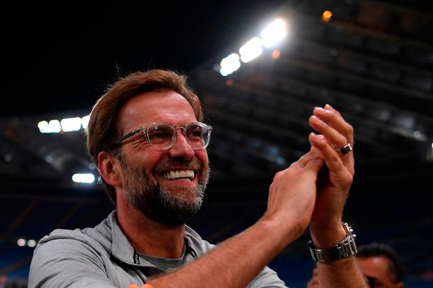 Liverpool manager Jurgen Klopp applauds the fans following his sides progression to this year's Champions League final. Photo: AFP/Getty Images