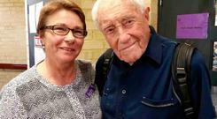 David Goodall (R) poses with Carol O'Neill of Exit International, which advocates for voluntary euthanasia, in Perth. Goodall, Australia's oldest scientist, wearing a top labelled