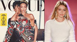 Gigi Hadid covers Vogue Italia, left, and right, on the runway