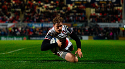 15 December 2017; Andrew Trimble of Ulster goes over to score his side's sixth try during the European Rugby Champions Cup Pool 1 Round 4 match between Ulster and Harlequins at the Kingspan Stadium in Belfast. Photo by Ramsey Cardy/Sportsfile