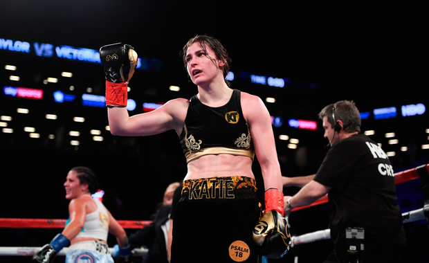 28 April 2018; Katie Taylor following her WBA and IBF World Lightweight unification bout with Victoria Bustos at the Barclays Center in Brooklyn, New York. Photo by Stephen McCarthy/Sportsfile