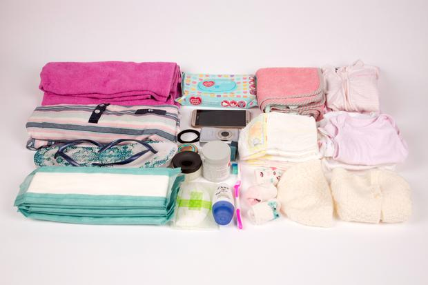 Amy Walsh's maternity bag for her daughter Alice