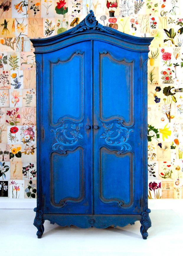 Wardrobe painted blue with Annie Sloan paint