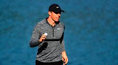CHARLOTTE, NC - MAY 03: Rory McIlroy of Northern Ireland acknowledges the gallery following his par putt attempt on the 14th green during the first round of the 2018 Wells Fargo Championship at Quail Hollow Club on May 3, 2018 in Charlotte, North Carolina. (Photo by Sam Greenwood/Getty Images)