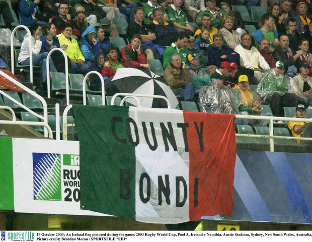 An Ireland flag pictured Ireland v Namibia at Aussie Stadium, Sydney, New South Wales, Australia in 2003. Picture credit; Brendan Moran / SPORTSFILE *EDI*