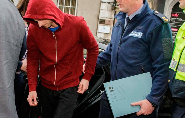 Rafal Karaczyn who was charged in connection with the discovery of the body of his wife, Natalia Karaczyn arriving at Sligo Court yesterday. Photo: James Connolly