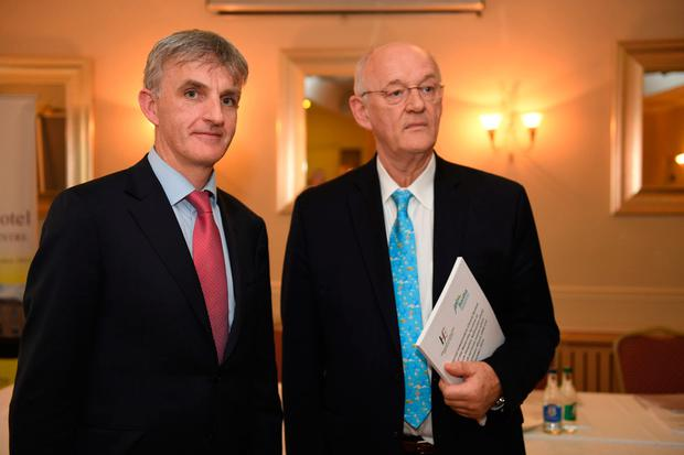 Dr Pat Nash, chief clinical director of Saolta hospital group, and Professor James Walker of University of Leeds. Photo: Andrew Downes