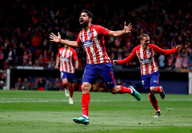 Atletico Madrid's Diego Costa celebrates scoring. Photo: Reuters