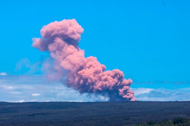 An ash cloud rises above Kilauea Volcano after it erupted, on Hawaii's Big Island May 3, 2018, in this photo obtained from social media. Janice Wei/via REUTERS
