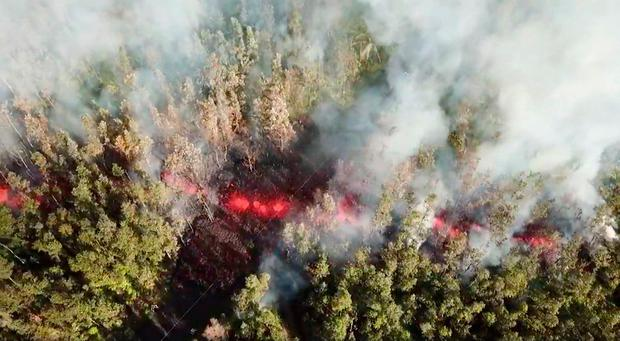 Lava emerges from the ground after Kilauea Volcano erupted, on Hawaii's Big Island May 3, 2018, in this still image taken from video obtained from social media. Jeremiah Osuna/via REUTERS