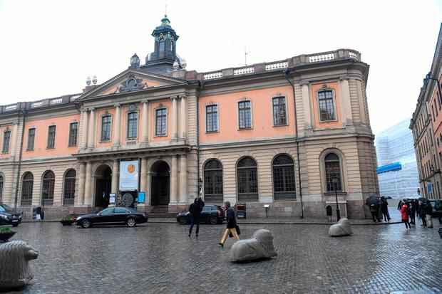 A general view of the old Stock Exchange Building, home of the Swedish Academy, in Stockholm, Sweden May 3, 2018. TT News Agency/Fredrik Sandberg/via REUTERS