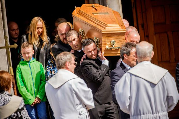 The family and friends of Natalia Karaczyn accompany the coffin after the funeral Mass in the Cathedral of the Immaculate Conception, Sligo. Photo: James Connolly