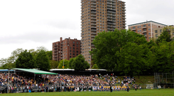 Gaelic Park, New York, as the teams parade before the game in May, 2006. Photo: Brendan Moran/Sportsfile