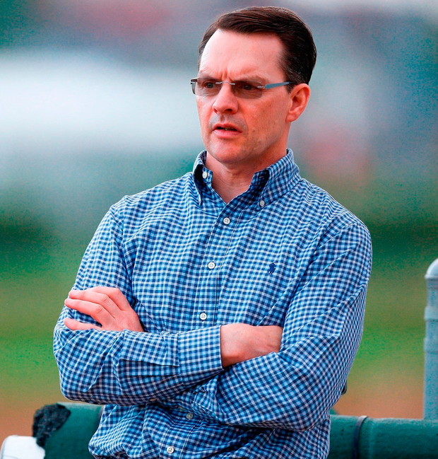 Aidan O'Brien looking on at Churchill Downs yesterday ahead of the Kentucky Derby. Photo: Michael Reaves/Getty Images