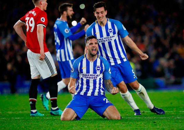 Shane Duffy celebrates after the match. Photo: Reuters