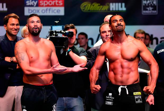 BIG SHOW: Tony Bellew and David Haye weigh in. Photo by Richard Heathcote/Getty Images