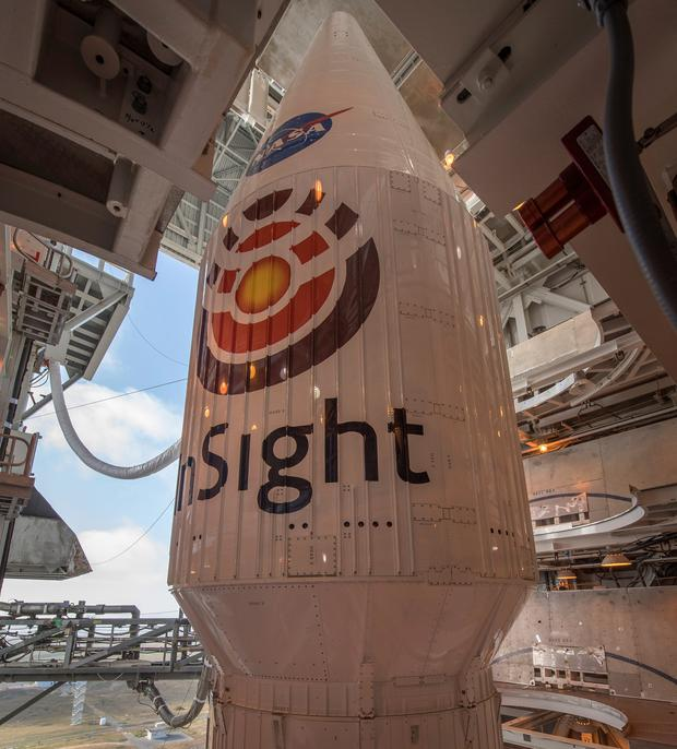 The United Launch Alliance (ULA) Atlas-V rocket is seen with NASA's InSight spacecraft onboard, at Vandenberg Air Force Base in California, U.S., May 3, 2018. InSight, short for Interior Exploration using Seismic Investigations, Geodesy and Heat Transport, is a Mars lander designed to study the