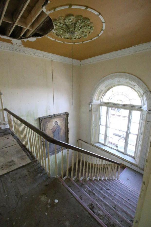 Before shot of upper entrance landing in Ballinafid House in Mayo. The Great House Revival RTE One.