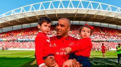 Simon Zebo with son Jacob and daughter Sofia following the Guinness PRO14 semi-final play-off match between Munster and Edinburgh at Thomond Park