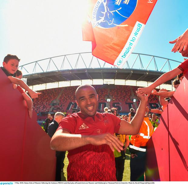 Simon Zebo of Munster following the Guinness PRO14 semi-final play-off match between Munster and Edinburgh at Thomond Park