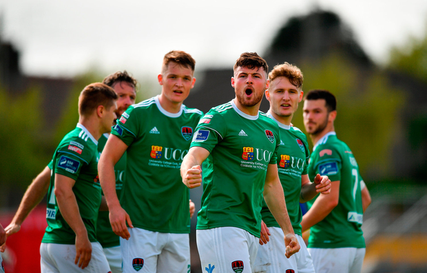 Josh O'Hanlon of Cork City celebrates after scoring his side's second goal