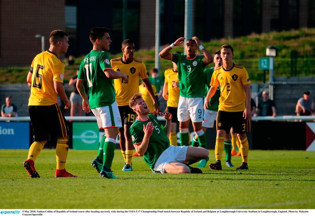 Nathan Collins of Republic of Ireland reacts after heading narrowly wide