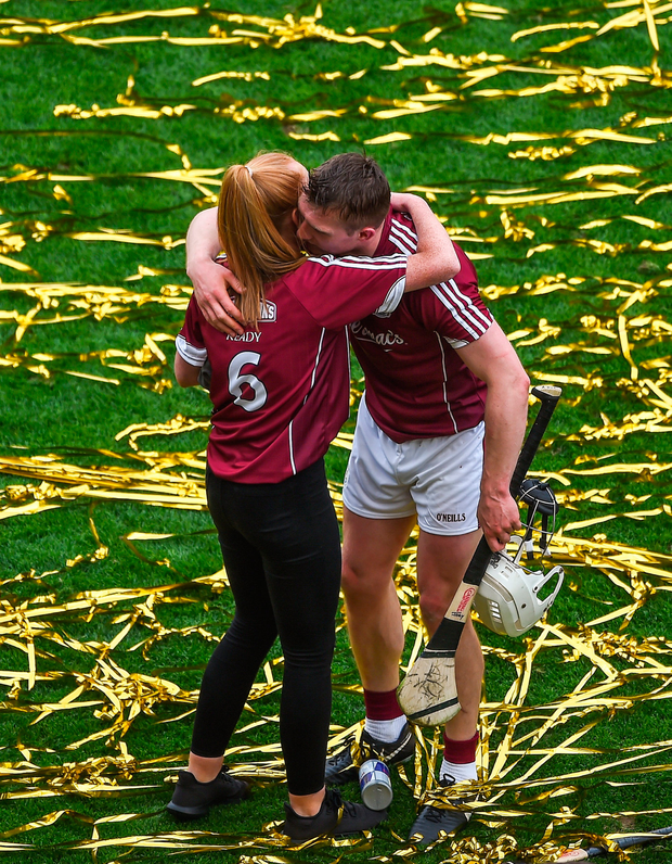 Joe Canning, the hero of Galway's 2017 All Ireland win, enbraces Shannon Keady after the game. Photo: Sportsfile