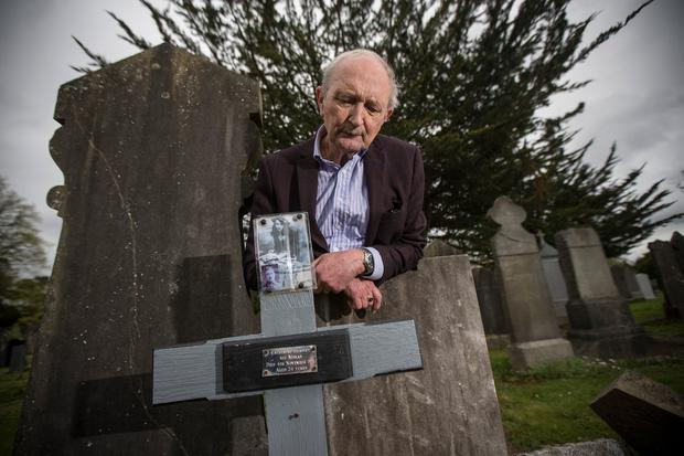 Fred Heatley (75) at the grave of his grandmother Catherine Moran Heatley in Glasnevin Cemetery. Photo: Mark Condren