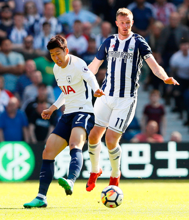Tottenham's Son Heung-min battles with West Bromwich Albion's Chris Brunt. Photo: Jason Cairnduff/Reuters