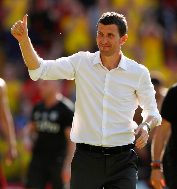 Watford manager Javi Gracia applauds the fans after the match. Photo: John Sibley/Reuters