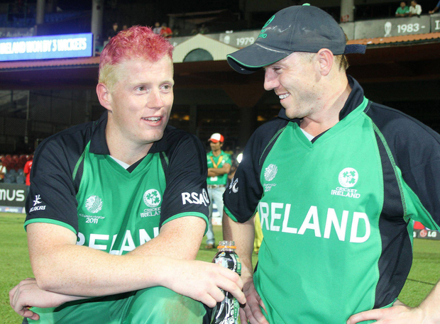 Kevin and Niall O'Brien after victory over England in 2011. Photo: Sportsfile