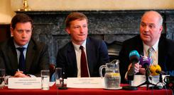 Prof Donal Brennan, Dr Jerome Coffey and Chief Medical Officer Dr Tony Holohan from the HSE clinical expert panel, during a press conference to address public concern surrounding the national cervical screening programme. Photo: Niall Carson