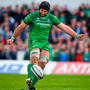 John Muldoon kicks a conversion in his last match for Connacht at the Sportsground in Galway. Photo: Brendan Moran/Sportsfile