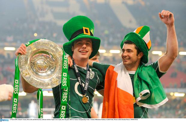 21 March 2009; Ireland's Tommy Bowe, left, and Rob Kearney celebrate with the Triple Crown trophy after the game. RBS Six Nations Championship, Wales v Ireland, Millennium Stadium, Cardiff, Wales. Picture credit: Brendan Moran / SPORTSFILE