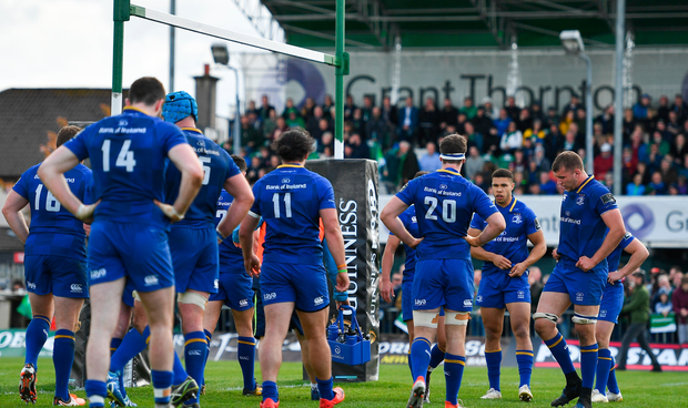 The Leinster team after conceding their sixth try