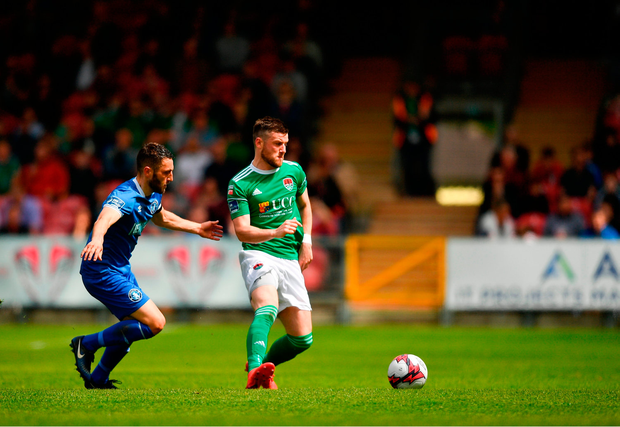 Steven Beattie of Cork City in action against Shane Duggan of Limerick. Photo by Eóin Noonan/Sportsfile