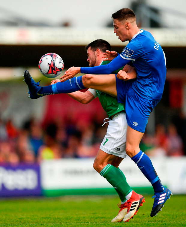 Cian Coleman of Limerick in action against Jimmy Keohane of Cork City. Photo by Eóin Noonan/Sportsfile