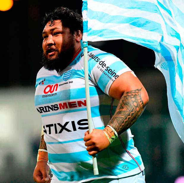 Racing 92's New Zealand prop Ben Tameifuna celebrates at the end of the French Top 14 clash with Agen on Saturday. Photo: Getty Images