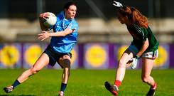 Sinéad Aherne tries to get past Sarah Tierney during the Lidl Ladies Football National League Division 1 final at Parnell Park. Photo: Piaras Ó Mídheach/Sportsfile